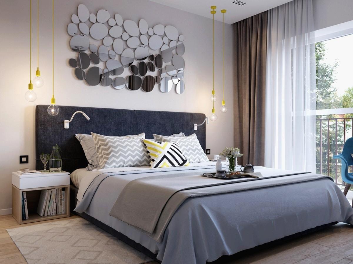 Декор спальни в серых тонах