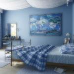 Декор спальни в средиземноморском стиле с тканевым потолком