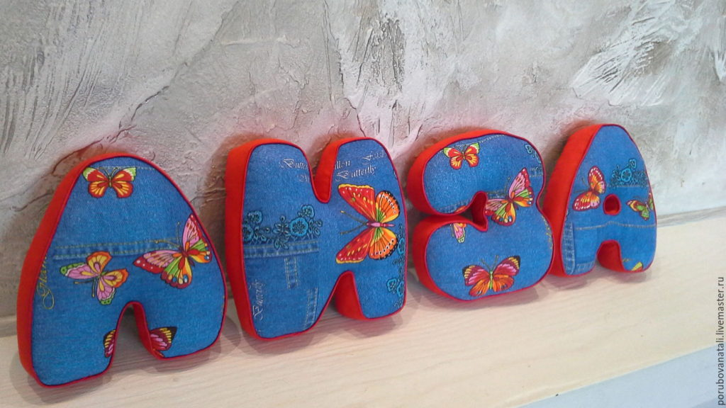 Декор в детской комнате буквы