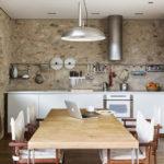 Декоративный камень на кухне отделка в стиле рустик