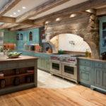 Декоративный камень на кухне рустик арка над плитой