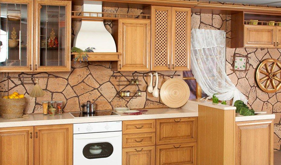 декоративный камень в отделке кухни цвет