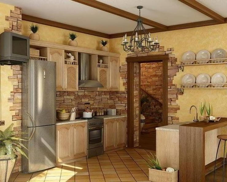 декоративный камень в отделке кухни прованс