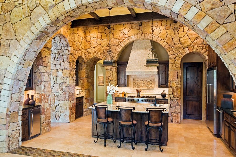 декоративный камень в отделке кухни средневековье