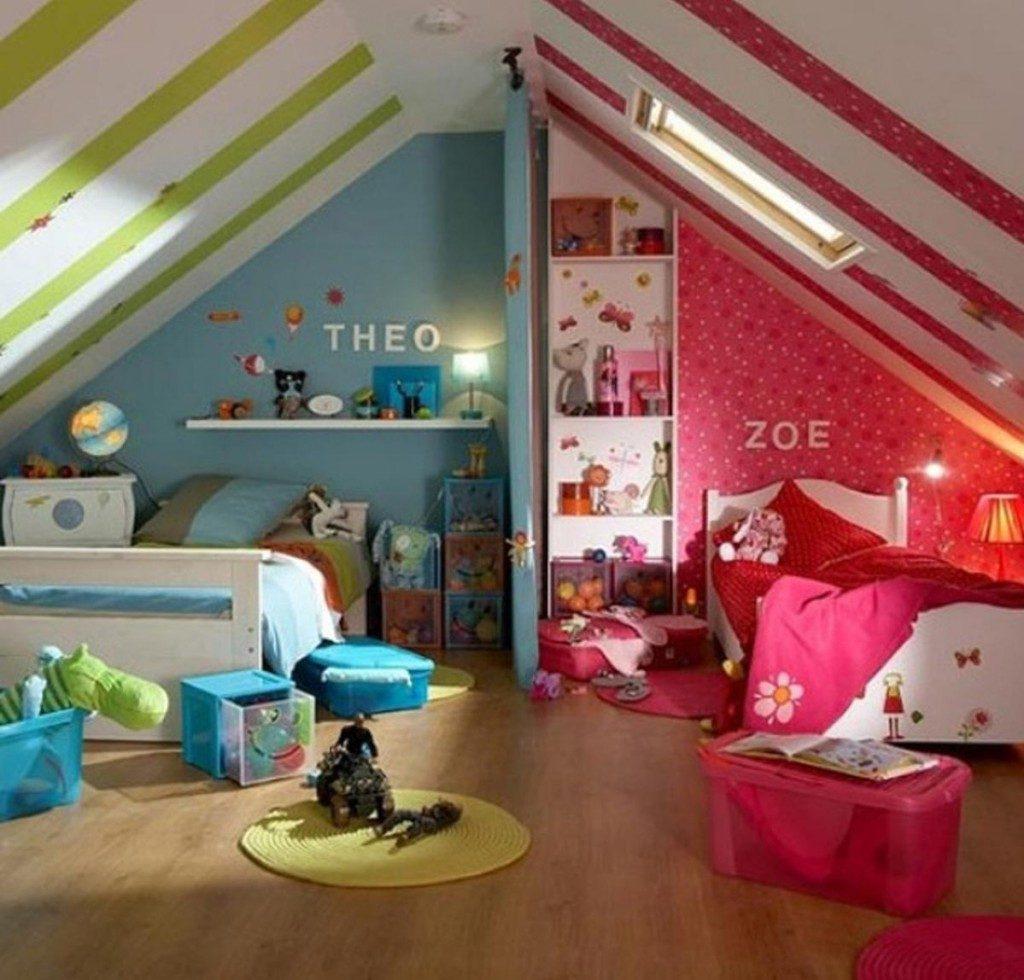 Дизайн детской комнаты для двух разнополых детей аксессуары