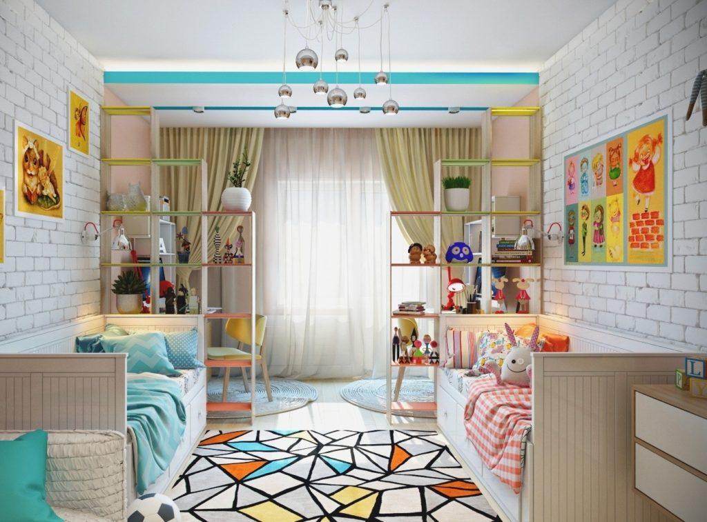Дизайн детской комнаты для двух разнополых детей цветовая палитра
