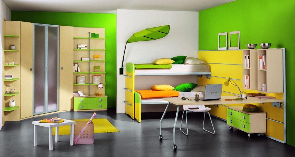 Дизайн детской комнаты для двух разнополых детей этажерки