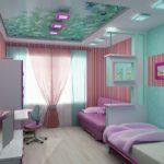 Дизайн детской комнаты для двух разнополых детей фотообои на потолке