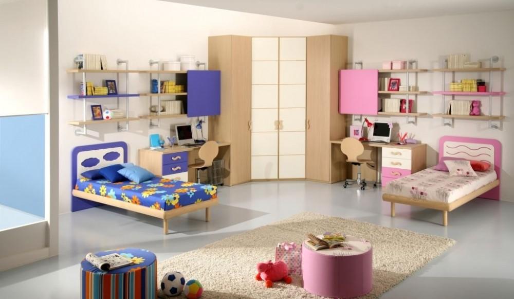 Дизайн детской комнаты для двух разнополых детей гардеробный шкаф