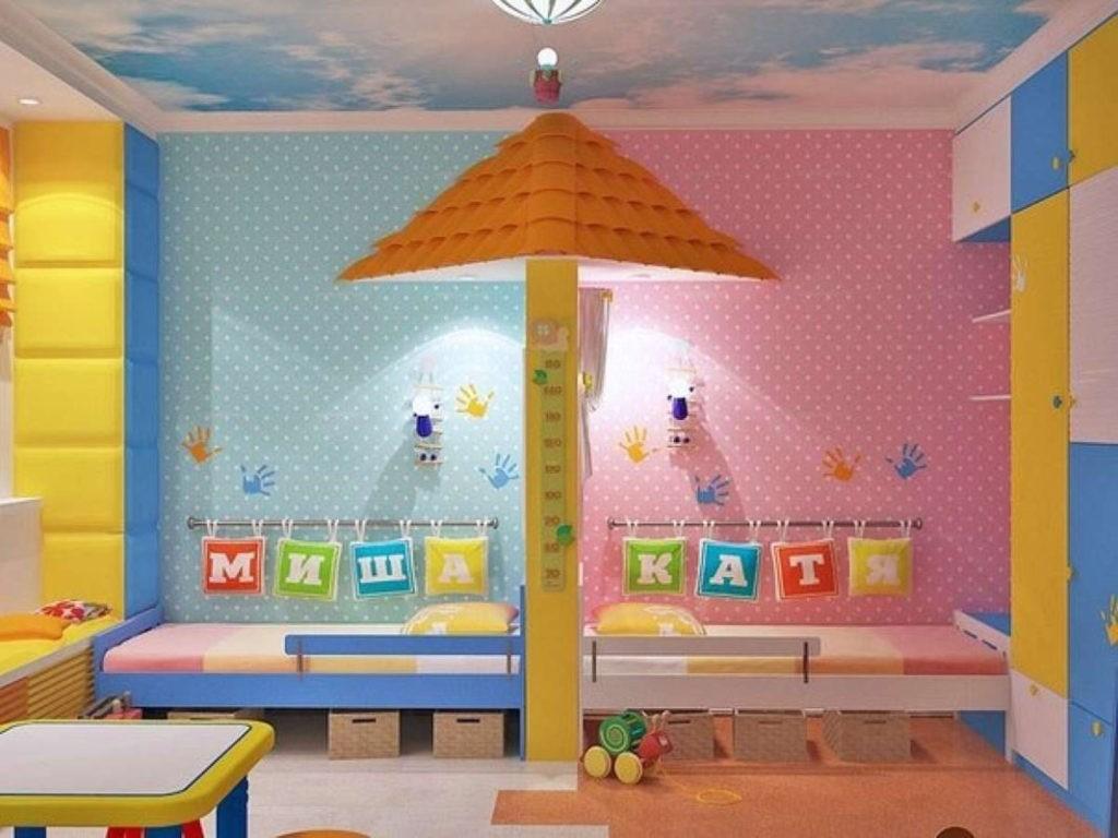 Дизайн детской комнаты для двух разнополых детей имена
