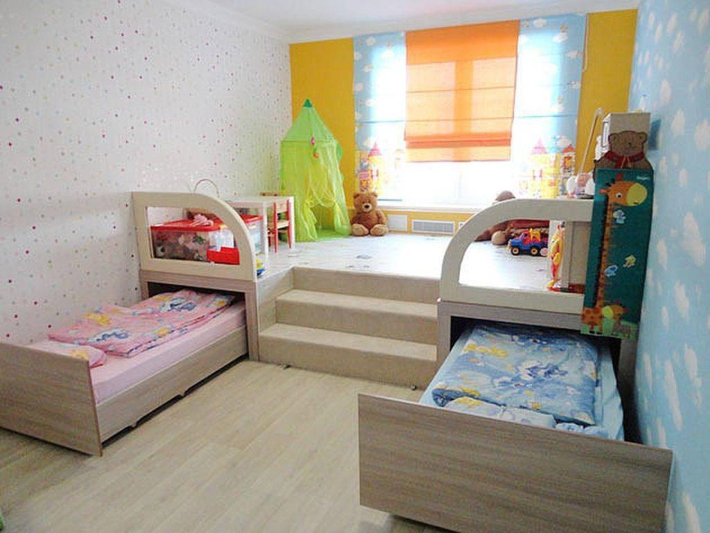 Дизайн детской комнаты для двух разнополых детей кровати-трансформеры