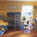 Дизайн детской комнаты для двух разнополых детей металлическая кровать два яруса