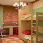 Дизайн детской комнаты для двух разнополых детей младшего и старшего возраста