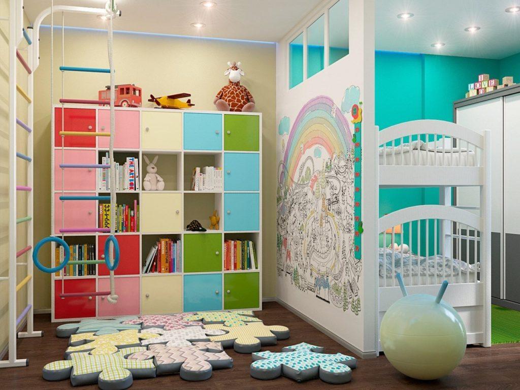 Дизайн детской комнаты для двух разнополых детей общие места