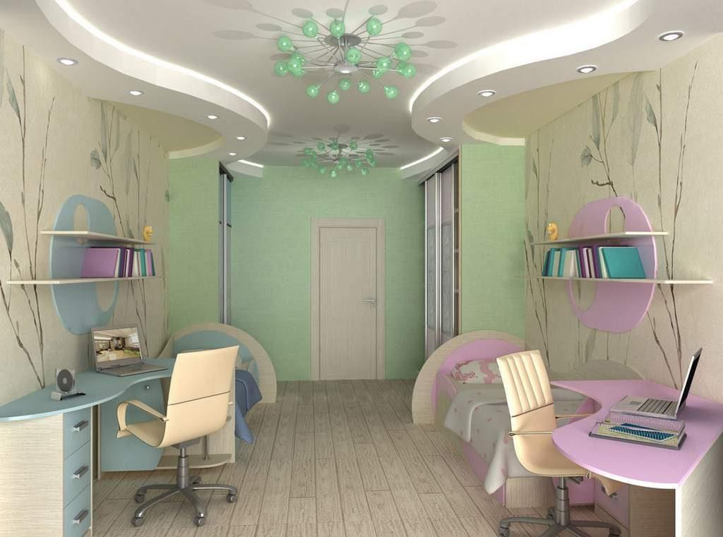 Дизайн детской комнаты для двух разнополых детей отдельные учебные зоны