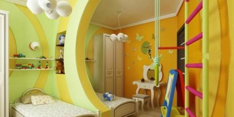 Дизайн детской комнаты для двух разнополых детей перегородка и шведская стенка