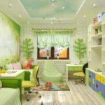 Дизайн детской комнаты для двух разнополых детей с этажеркой
