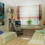Дизайн детской комнаты для двух разнополых детей с общим столом