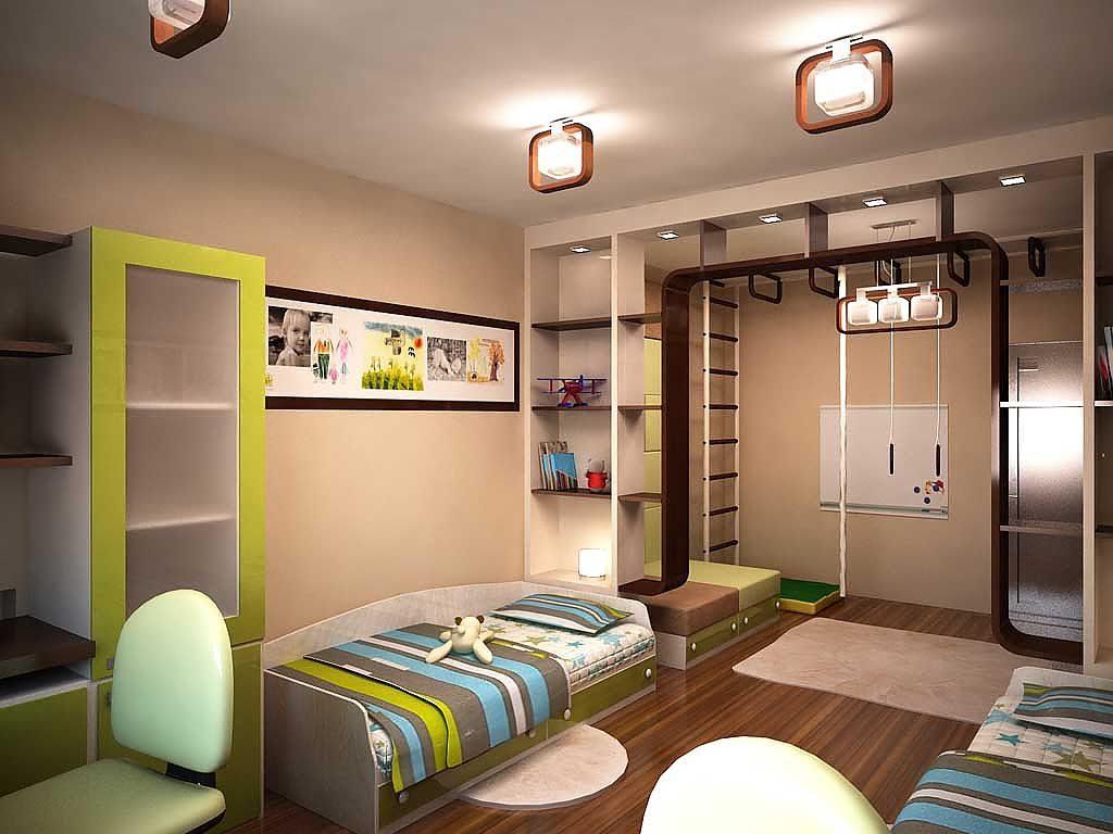 Дизайн детской комнаты для двух разнополых детей спортивный уголок