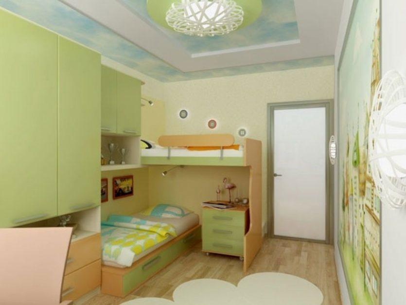 Дизайн детской комнаты для двух разнополых детей светлые тона