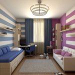Дизайн детской комнаты для двух разнополых детей у разных стен