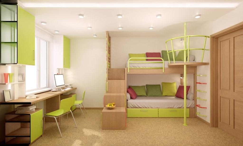 Дизайн детской комнаты для двух разнополых детей учебная зона