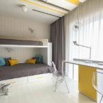 Дизайн детской комнаты для двух разнополых детей в серых тонах