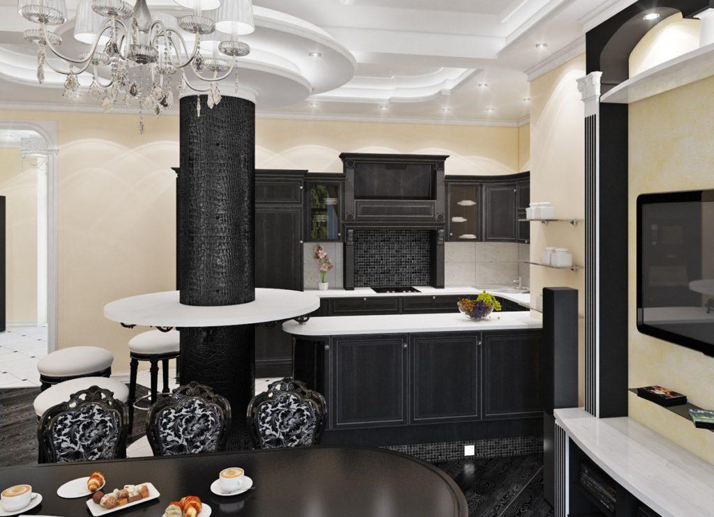 Дизайн кухни в современном стиле черно-белый арт-деко