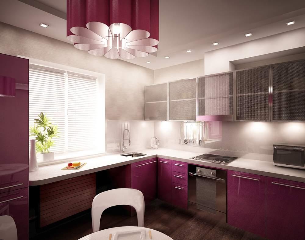 Дизайн кухни в современном стиле хай-тек освещение