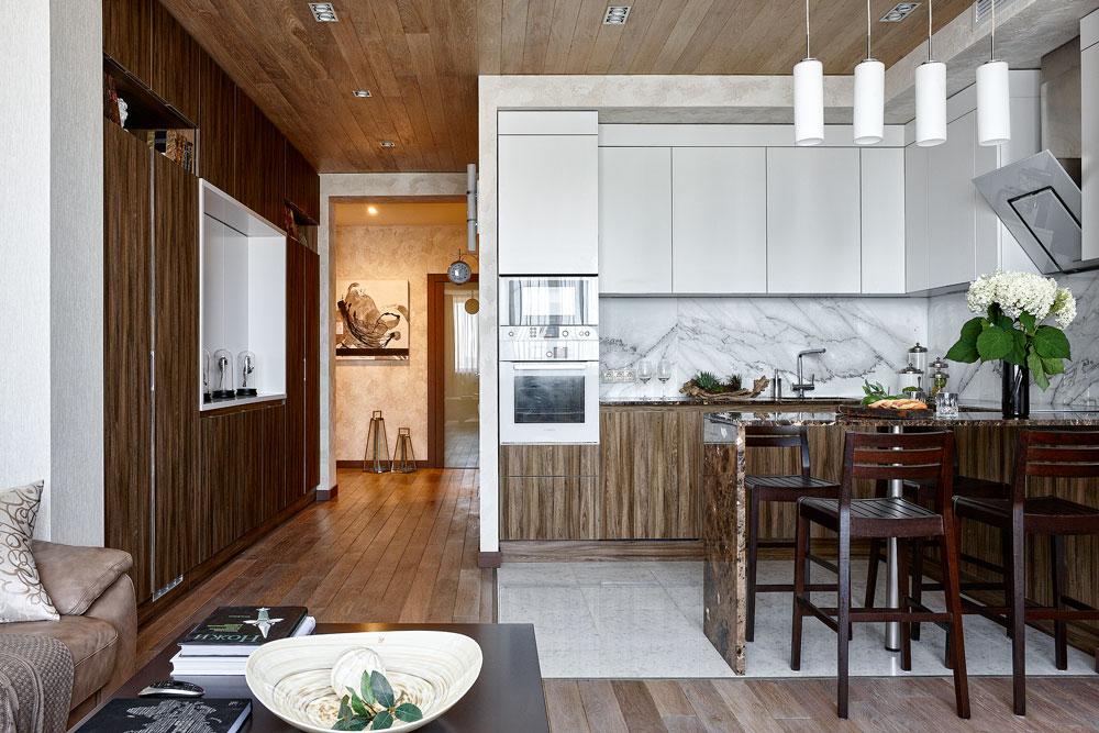 Дизайн кухни в современном стиле контемпорари обшивка досками