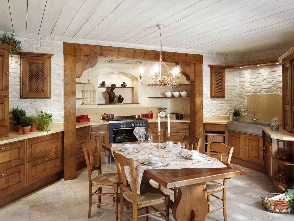 Дизайн кухни в современном стиле рустик