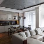 Дизайн кухни в современном стиле с хромированными элементами интерьера