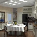 Дизайн кухни в современном стиле с классическим гарнитуром