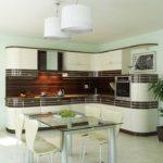 Дизайн кухни в современном стиле скругленные углы и стекло