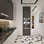 Дизайн кухни в современном стиле встроенная мебель и геометрический узор на полу