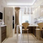 Дизайн кухни в современном стиле зауженные пропорции