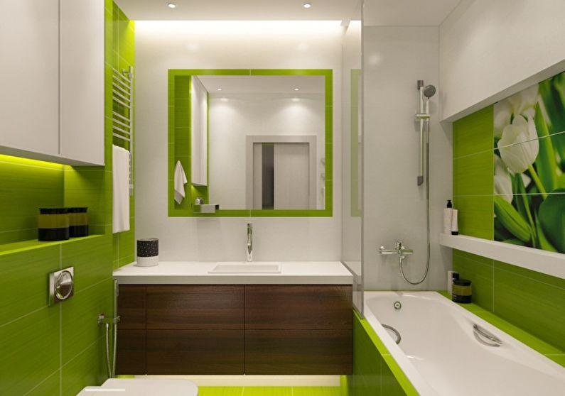 дизайн ванной в бело зеленых тонах