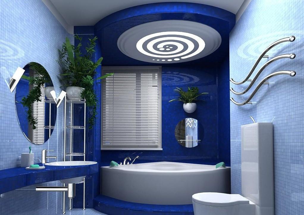 дизайн ванной в синих тонах