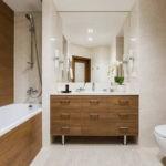 Дизайн ванной комнаты 6 кв м мрамор и древесный сруб