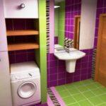 Дизайн ванной комнаты 6 кв м с комбинацией кафельной плитки из трех цветов