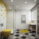 Дизайн ванной комнаты 6 кв м с шестиугольной кафельной плиткой