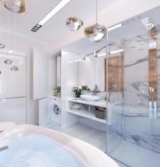 Дизайн ванной комнаты 6 кв м в стиле хайтек