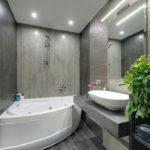 Дизайн ванной комнаты 6 кв м ванна с натяжным потолком