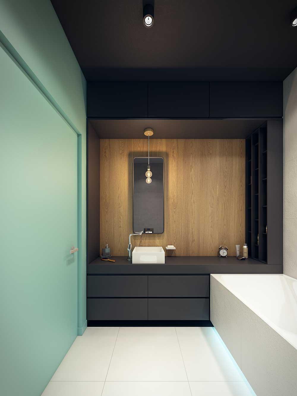 Дизайн ванной комнаты 6 кв м зонирование цветом