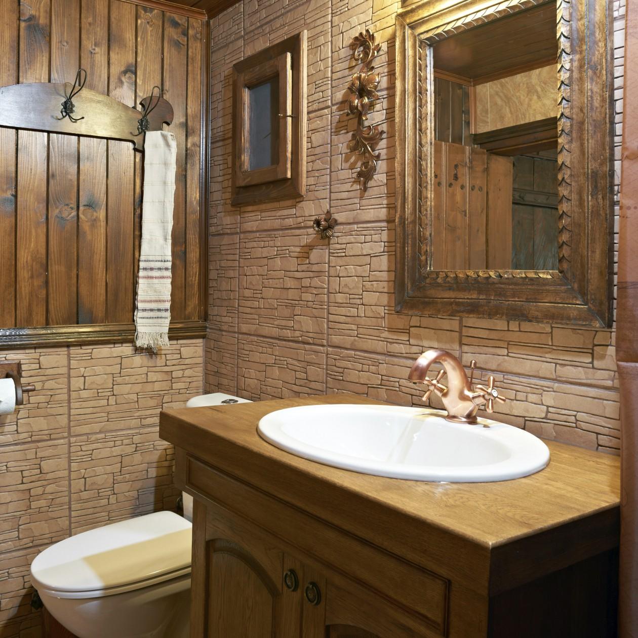 Дизайн ванной комнаты 6 кв с декоративным камнем
