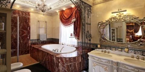 Дизайн ванной комнаты в частном доме барокко и кафель под гранит