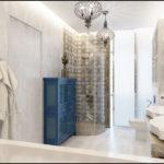 Дизайн ванной комнаты в частном доме мрамор и стекло