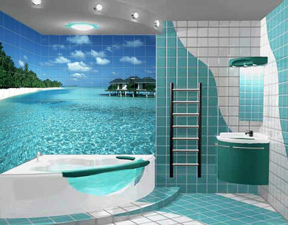 Дизайн ванной комнаты в частном доме плитка с фотопечатью