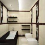 Дизайн ванной комнаты в частном доме в бело-коричневой гамме