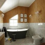 Дизайн ванной комнаты в частном доме вагонка и кафель под мрамор